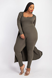 Plus Size Cami Jumpsuit and Cardigan Set.