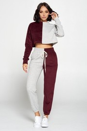 Casual two color tone jogger pants set.
