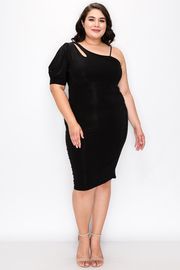 Plus Size One Shoulder 3/4 sleeve Dress