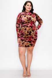 Plus Size Flower print Mock Neck Dress