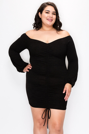 Plus Size Open shoulder Dress with Runched detail and Drawstrings