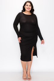 Plus Size Round Neck Dress with Runched Detail