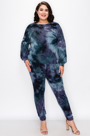 Plus Size Long Sleeve Tie Dye Set with Wrap detail in the back