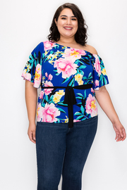 Plus Size Open Shoulder Top with Flower Print and Waist Belt