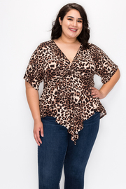 Plus Size Wrap Animal Print Short Sleeve top with V neck