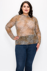 Plus Size Sheer Mesh Animal Print Long Sleeve Top