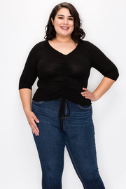 Plus Size V neck Runched detail top with Drawstrings