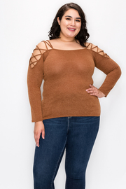 Plus Size Cold Shoulder top with Long Sleeve