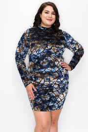 Plus Size Print Dress with Long Sleeve and Mock Neck