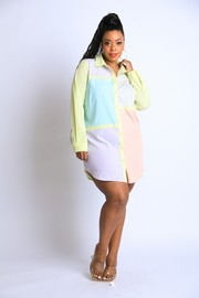Plus Size Colorblocked Shirt Dress.