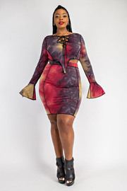 Plus Size Lace up top and skirt set with stitching.