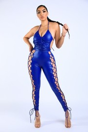 Lace Up Detailed PU Halter Jumpsuit.