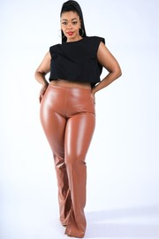 Plus Size Faux Leather Slit Pants.