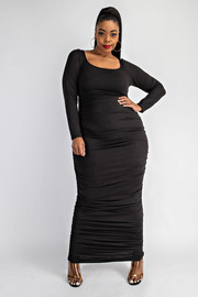 Plus Size Scoop neck maxi dress with side shirrings.