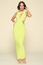Asymmetrical Cut detail on front. Solid color Maxi Dress and Sleeveless.
