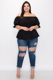Plus Size Smoked on waist off the shoulder top.