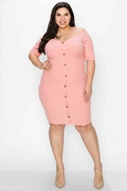 Plus Size Off the shoulder button down decoration short sleeves bodycon junior plus Dress.