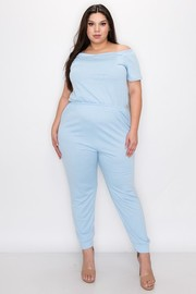 Plus Size Off the shoulder short sleeves side pocket, and rib bottom on the pants jumpsuit.