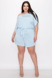 Plus Size One off shoulder straight leg short pants with self waist tie relaxed fit romper.