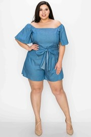 Plus Size Off the shoulder or square neck, short sleeves, self waist tie romper.