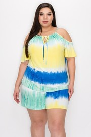 Plus Size Tie Dye print top and short set.