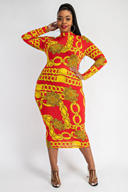Plus Size Long Sleeve Mock neck Maxi Dress.