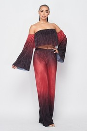 Off Shoulder long flared sleeve top and pants Set.