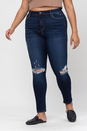 Plus Size High Rise Distress Ankle Skinny.