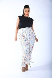 Plus Size NewsPaper Splatter Baggy Pants.