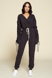 Casual Jumpsuit, Solid Color, V-neck, Long Ruched Sleeve With Drawstring