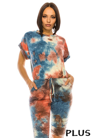 Plus Size Tiedye Print Jumper. Good Stretch. Back Zipper Closure.