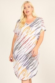 Plus Size Short Sleeve Tiedye Print Dress with V Neckline and Side Slits.
