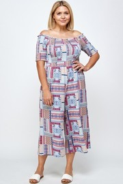 Plus Size Scarf Print Smocked Jumpsuit, Cropped Wide Leg Palazzo.