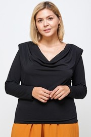 Plus Size Cowl Drape Neck Padded Shoulder Top.