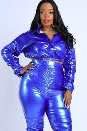 Plus Size Pearl Latex Ruched Set.