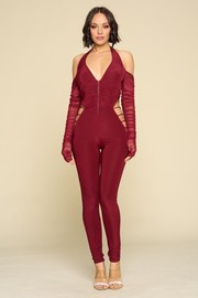 Sexy Halter Jumpsuit, Zip Up Front, V-neck, Long Mesh Sleeves, Cut out Detail.
