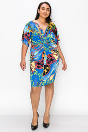 Plus Size Short sleeve Print Wrap Dress