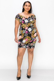 Plus Size Print off the shoulder dress