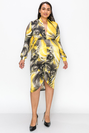 Plus Size Print Long Sleeve Deep V Dress with Runched Detail
