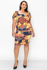 Plus Size Square neck printed short sleeve midi dress