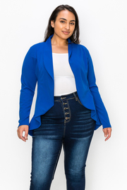 Plus Size solid long sleeve jacket