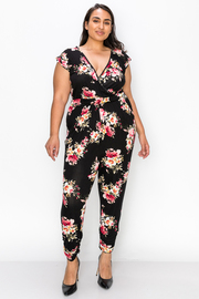 Plus Size Floral Print V neck Jumpsuit with V shape open back