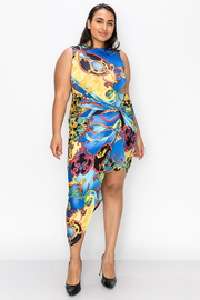 Plus Size Mock neck Print wrap dress with back Keyhole