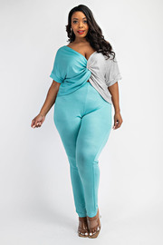 Plus Size Twist Front Top and Leggings Set.
