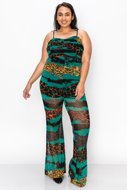 Plus Size Sleeveless Jumpsuit with Runched Detail