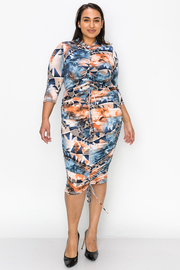 Plus Size Top and Skirt Set with Drawstrings