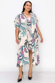 Plus Size Printed Tupe Dress with Cardigan Set