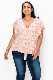 Plus Size V Neck Top with Waist Tie