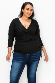 Plus Size V neck Wrap Top with Drawstrings on the Side