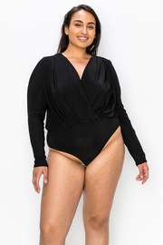 Plus Size Solid Wrap Long Sleeve V neck Bodysuit